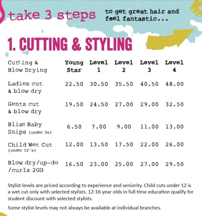 Cut & Style Prices at Bliss Hair Salons in Nottingham & Loughborough