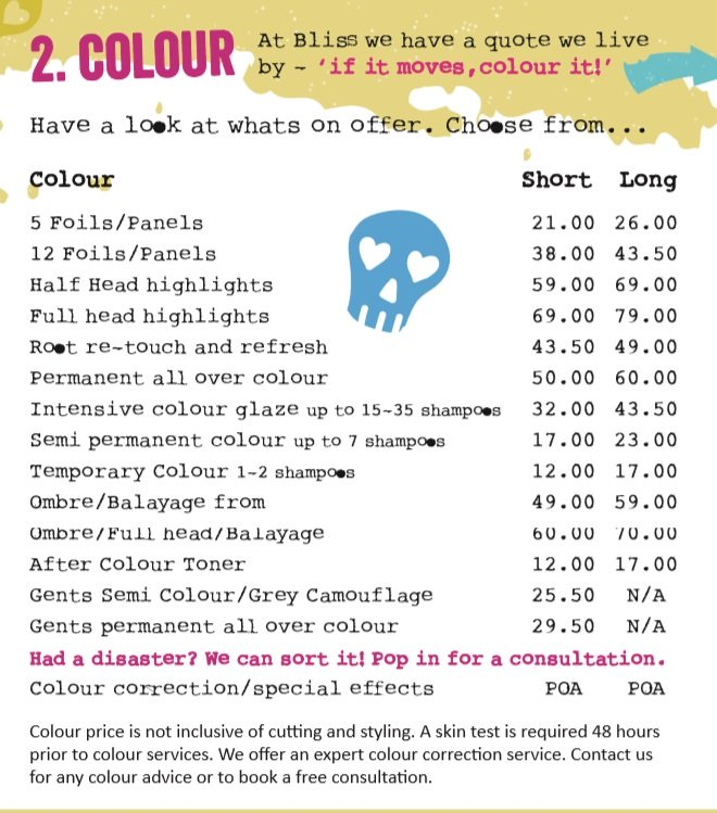 Hair Colour Prices at Bliss Hair Salons in Nottingham & Loughborough