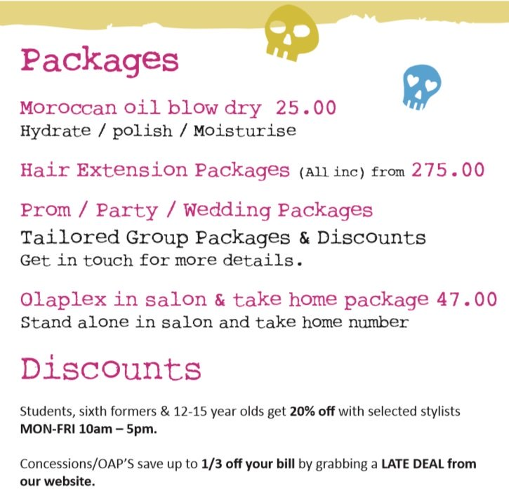 Packages & Discounts at Bliss Hair Salons in Nottingham & Loughborough