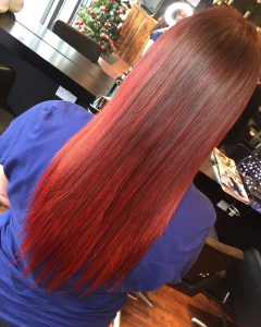 red hair colour transformation, hair salons, loughborough & nottingham