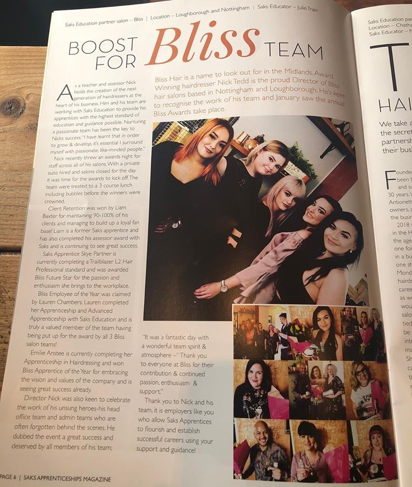 Bliss Team in Saks Apprenticeship Magazine