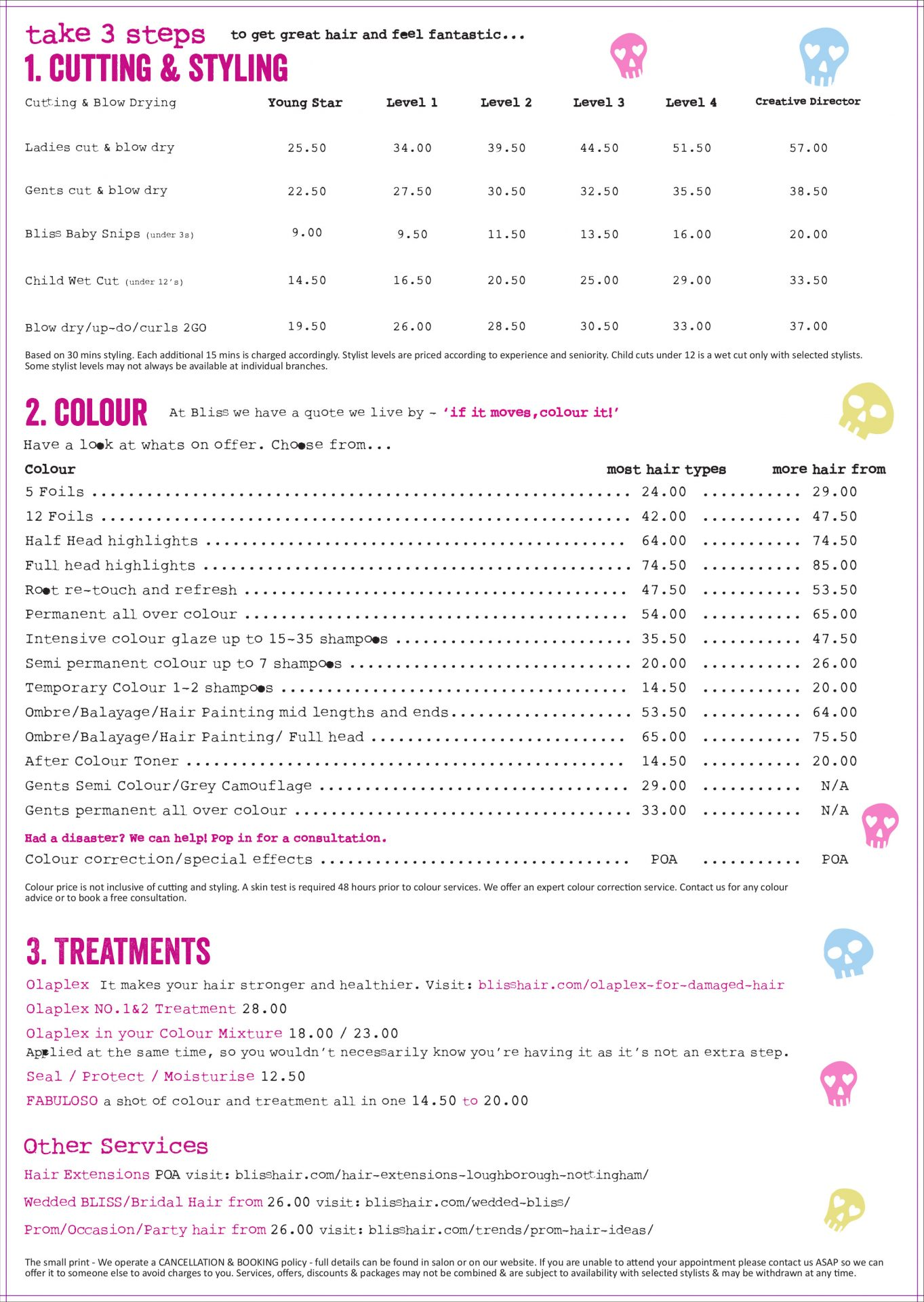 Price List For services at Bliss Hair Salons in Nottingham & Loughborough