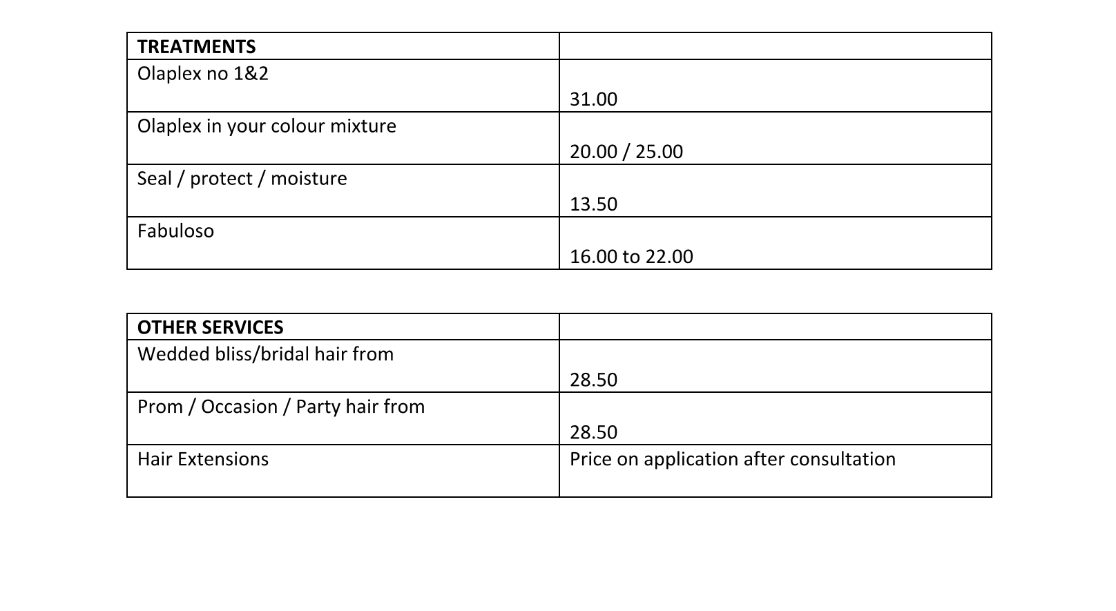 BLISS SALONS PRICE LIST JULY 2020 Page 2B