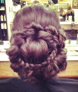 Intricate plaited upstyle