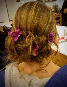 Wedding updo with flowers